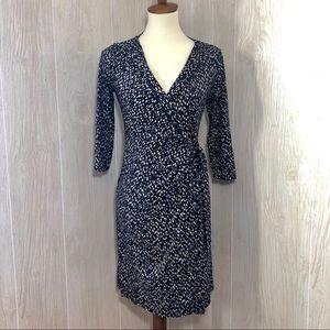 Ann Taylor Wrap Dress in Navy Blue Pattern